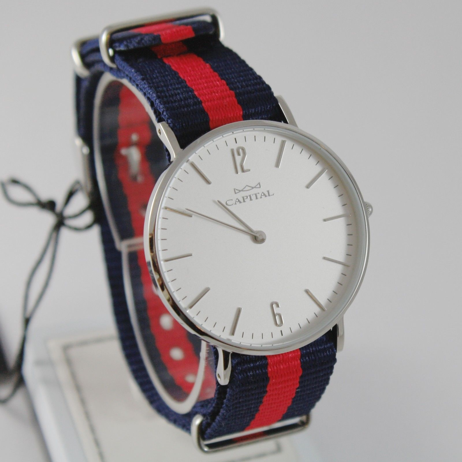 CAPITAL WATCH QUARTZ MOVEMENT 36 MM CASE, BLUE AND RED FABRIC BAND NYLON VINTAGE
