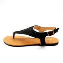 Top Moda Womans Bonus 5 Ankle Strap Thong Sandal Black Beaded Sz 6 M NEW - $29.69