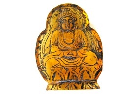 Vintage Japanese amber netsuke-2 Sided Buddha Meditate in Cave,#1