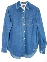 Tommy Hilfiger Womens Denim Shirt VINTAGE 90s Jean Women's Medium Spello... - $27.81