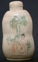 Chinese Handpainted Double Gourd Bone SNUFF BOTTLE-Enjoy Life Palm/ Bamb... - $55.00