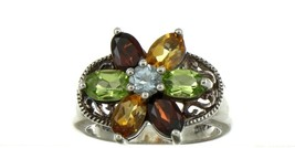 Ladies Size 7.25 Sterling Silver Multi Color Gemstone Fashion Ring No. 2153