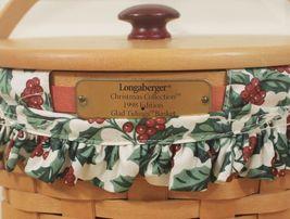 Vtg 1998 Longaberger Xmas Collection Glad Tidings Holly Berry Liner Basket w/Lid image 3