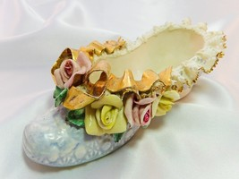 Porcelain Shoe Slipper Heirlooms of Tomorrow Vintage Blue Lace Roses Gol... - $10.99