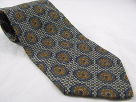 Vintage Valentino Silk Tie Necktie Blue Lattice Medallion Pattern Italy - $18.69