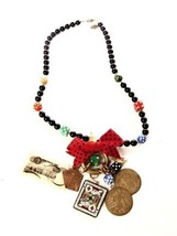 Katrina Necklace Whimsical Beads Gambling Bow Dice Money Cards Vintage J... - $148.50