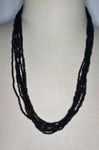 VTG Gold Tone Long Multi Strand Black Bead Beaded Necklace - $19.80