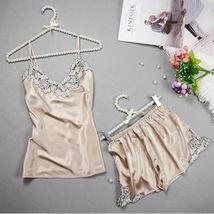 2pcs Milo Sexy Lace Set Pajama Set Kigurumi Silk Satin Pajamas Sleeveless - $24.70