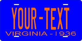 Virginia 1936 Personalized Tag Vehicle Car Auto License Plate - $16.75