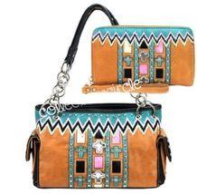 Montana West Cowgirl Aztec Cross Rhinestones Zig Zag Handbag Wallet Brown - $59.95
