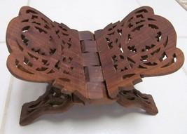 VINTAGE Folding Book Holder Recipe Carved Wood India Asia Oriental - $44.87