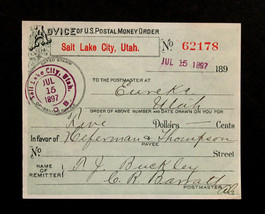 1897 U S POSTAL MONEY ORDER SALT LAKE CITY, EUREKA UTAH in  EXCELLENT CO... - $69.98