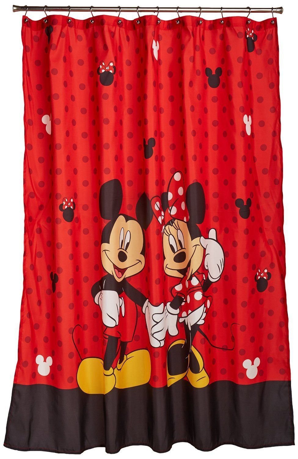 Mickey minnie mouse fabric shower curtain bathroom fun for Fabrics for children s curtains