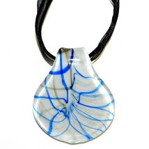 "MN211 Blue & Golden Bronze Sparkle Lampwork Glass Spoon Pendant 18"" Necklace - $7.15"