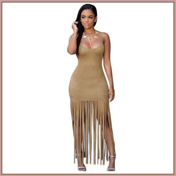 Native Princess Mocha Long Fringe Tassel Faux Suede Sleeveless Maxi Dress
