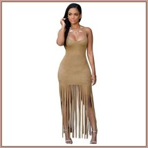 Native Princess Mocha Long Fringe Tassel Faux Suede Sleeveless Maxi Dress - $46.95