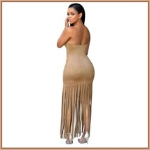 Native Princess Mocha Long Fringe Tassel Faux Suede Sleeveless Maxi Dress image 2