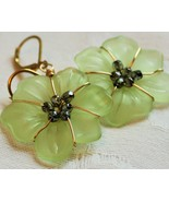 Gold and Green Flower earrings - $22.00