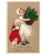 Marie Flatscher Birthday Girls Kitten Basket four Leaf Clovers PFB Postc... - $6.69