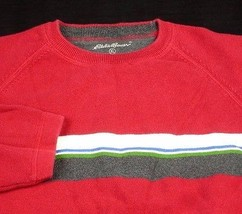 Eddie Bauer Mens Sweater Red w Grey Blue White Green Stripes Cotton XL EUC - $15.99