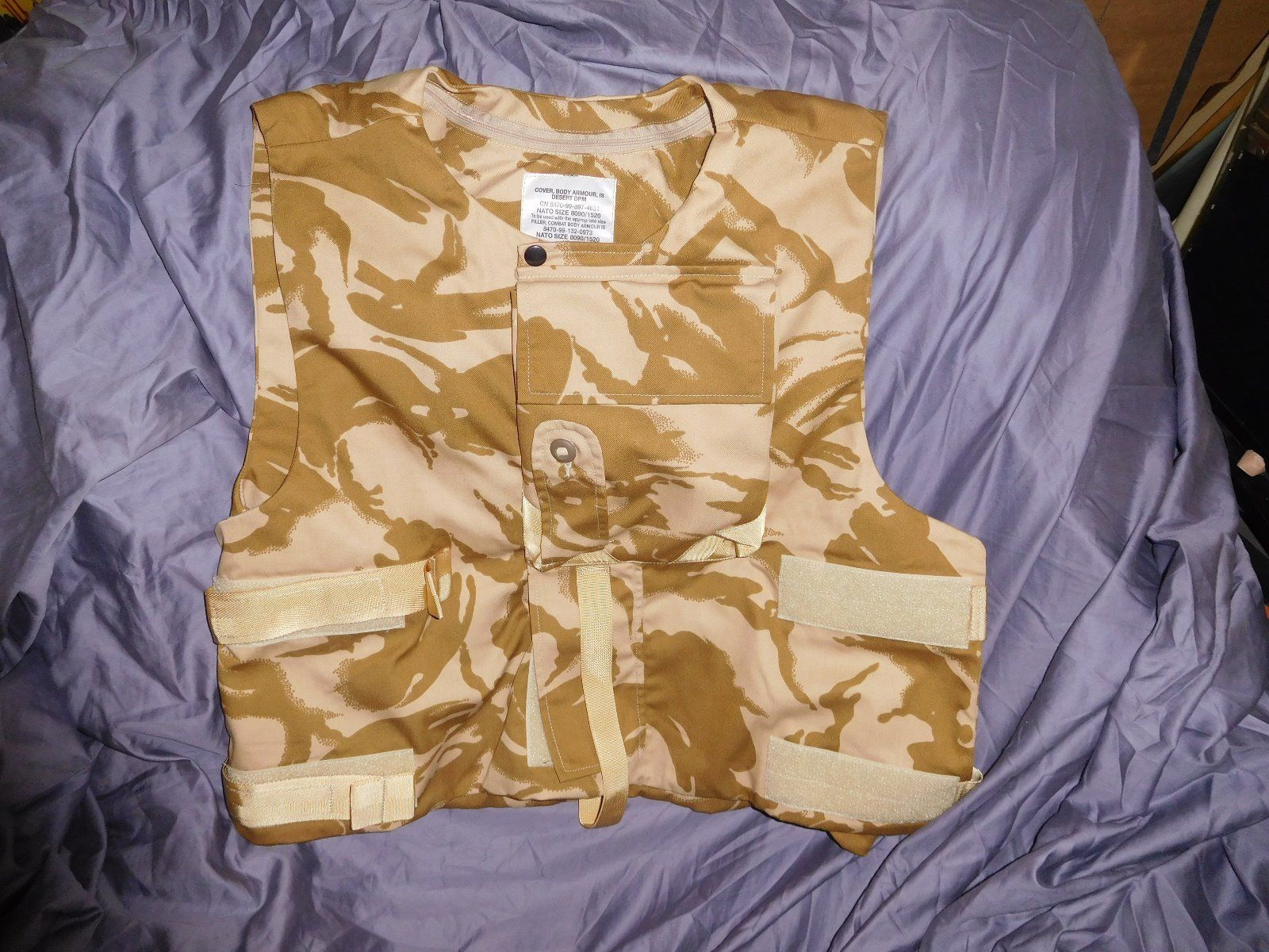English Army Combat Body Armour Vest (Size 190 height/120 chest) Desert Camo
