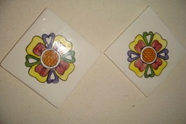 "Vintage Square HandPainted Flowers Porcelain Trivets With  3"" X 3"" - $20.00"