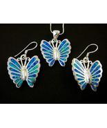 925 Silver Earrings Pendant Set Hawaiian Opal Butterfly - $59.00