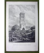 DENMARK Copenhagen Watch Tower - 1820s Copper Engraving by Cpt. Batty - $27.72