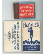 Everlasting Safety Matches Bugler Cigarette papers Brown Louisville vint... - $9.00