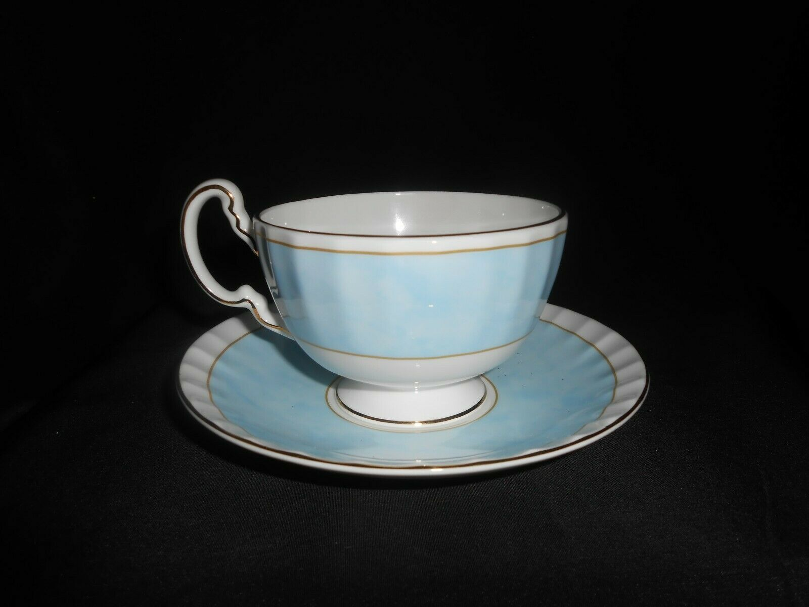 Aynsley Tea Trio Pale Blue Pink Cabbage Rose 3 Piece Set Vintage China image 8