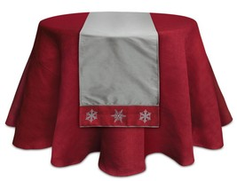 """Melrose 72"""" Alpine Chic Gray and Red Snowflake Trim Christmas Table Top ... - $44.54"""
