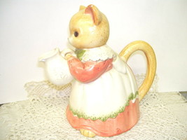 VINTAGE CAT PITCHER WEARING DRESS AND PINAFORE ADORABLE - $25.23