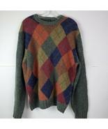 Jos. A. Bank Executive Collection Large Argyle Lambs Wool Mens Green Sweater LS - $45.52