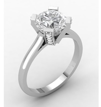 Engagement Ring Solid 14 k with White Moissanit... - $999.00