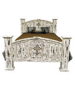 Queen Mansion White Scraped Cross Bed Solid Real Wood Rustic Distressed ... - $989.01