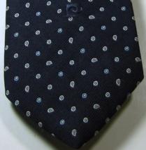 Pierre Cardin Rich Navy White Paisley Skinny Vintage  Tie Rare - $29.99