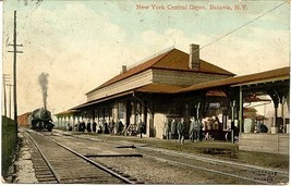 New York Central Depot Batavia New York 1909 Post Card - $6.00