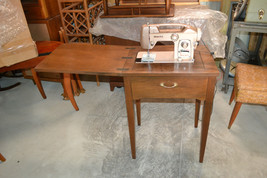 Vintage WHITE  Zig Zag Sewing Machine Wood Cabinet - $192.94