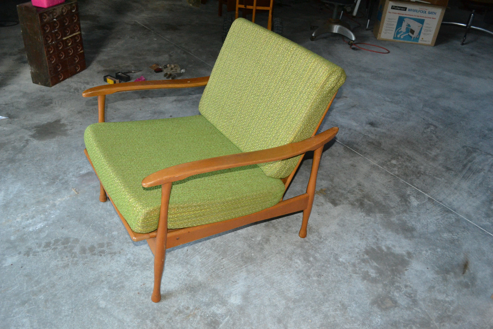 Vtg mid century danish modern wood green cushion lounge for Mid century danish modern chair