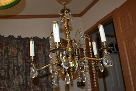Antique Spanish Ornate Brass 5 Arm Art Nouveau Chandelier Glass Crystal ... - $364.11