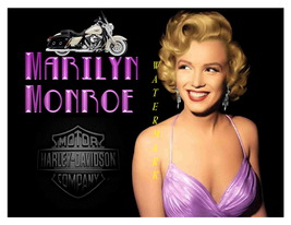 Marilyn in Purple & Harley 13 x 10 in Vintage Motorcycle Adv Giclee CANV... - $19.95