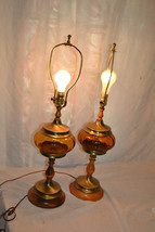 Vtg Retro Amber Glass Wood Table Office Desk LAMP set Mid Century Modern - $98.99