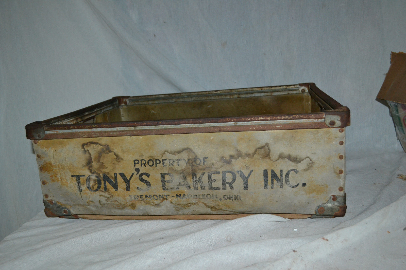 Antique Primitive General Store Tonys Bakery Bread Biscuit wood metal Crate Box