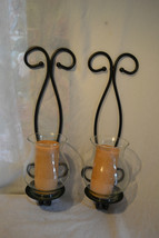 Wrought iron HOME INTERIORS wall sconce Candle holders  Cinnamon candles - $89.09