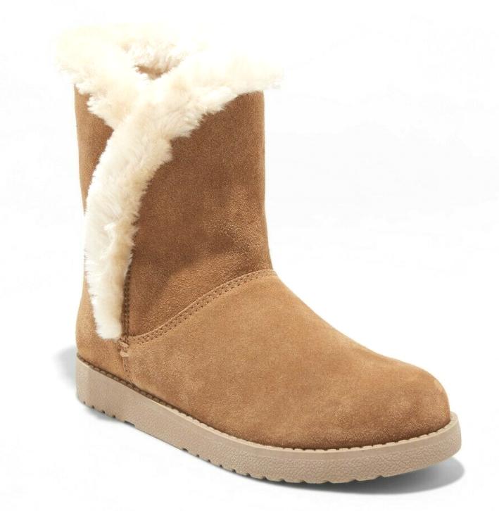 Universal Thread Womens Daniah Chestnut Genuine Suede Faux Fur Winter Snow Boots