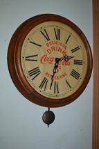 Antique Oak Delicious 5 cent  Drink CocaCola Clock Ingraham Man Cave Bar... - $712.79