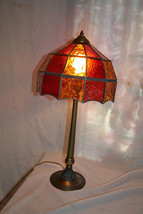 Vtg Antique style STAINED GLASS  BRASS Table office desk  Lamp - $98.99