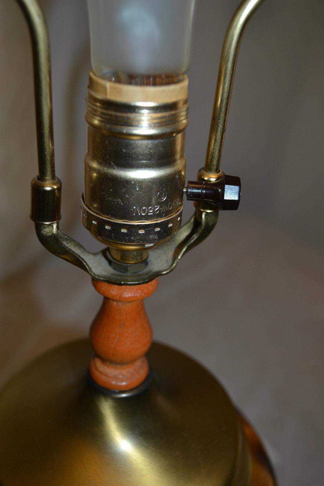 Vtg Retro Amber Glass Wood Table Office Desk LAMP set Mid Century Modern