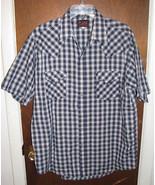 Mens Plains SS Western Pearl Snap Shirt Sz Large Navy Blue Plaid - $9.99