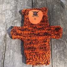 Hand Knit Puppet, Tiger, fits on kids and adults, Creative Play, Tiger P... - $6.00